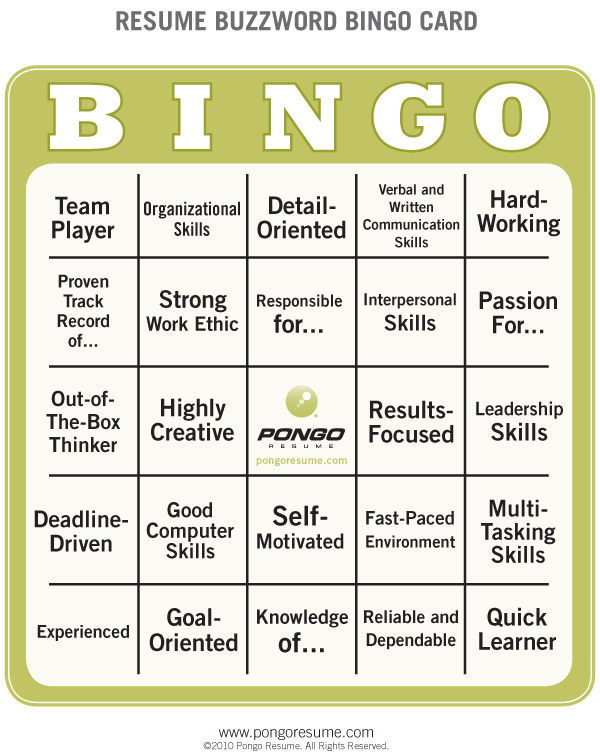 Resume Buzzword Bingo | Pongo Blog