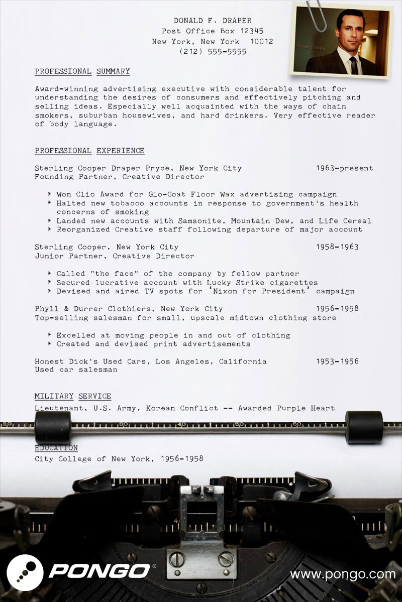 Superb Don Draper Ideas Pongo Resume