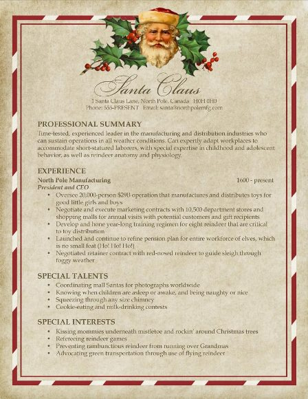 santas resume - Www Resume Com